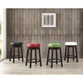 Swivel Counter Height Bar Stool with Leather Seat and Metal Foot Rest (Set of 2)
