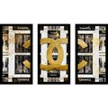 "BY Jodi ""Shop Chanel In Black"" Framed Plexiglass Wall Art Set of 3"