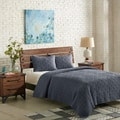 INK+IVY Morris Blue Cotton Solid Coverlet Set