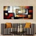 'Abstract 418' Hand Painted 3-piece Gallery-wrapped Canvas Art Set