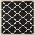 Safavieh Courtyard Moroccan Pattern Black/ Beige Indoor/ Outdoor Rug (4' Square)