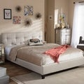 Modern Beige Fabric Platform Bed by Baxton Studio