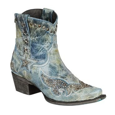 Blue and green cowboy boot