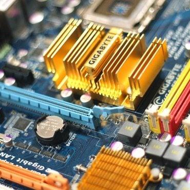 Closeup of a computer motherboard