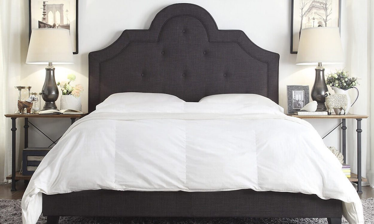Queen Bed With White Comforter