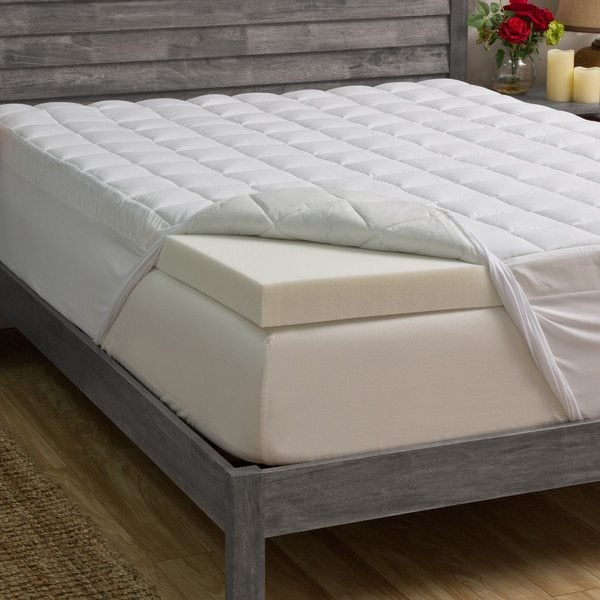 Weathered wood bed with white memory foam mattress topper, and mattress cover