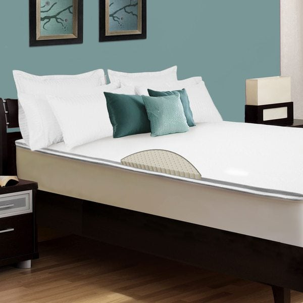 Blue room with brown bed and latex memory foam mattress topper