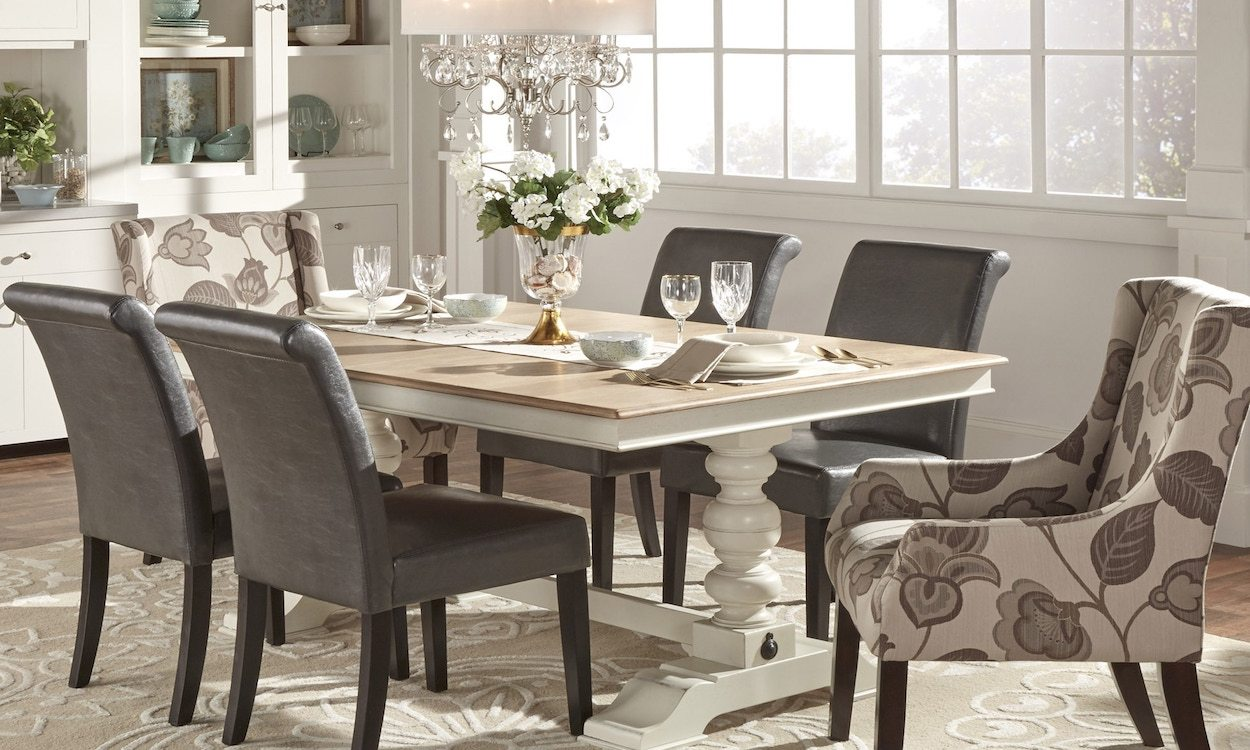 Dining table chairs and chandelier