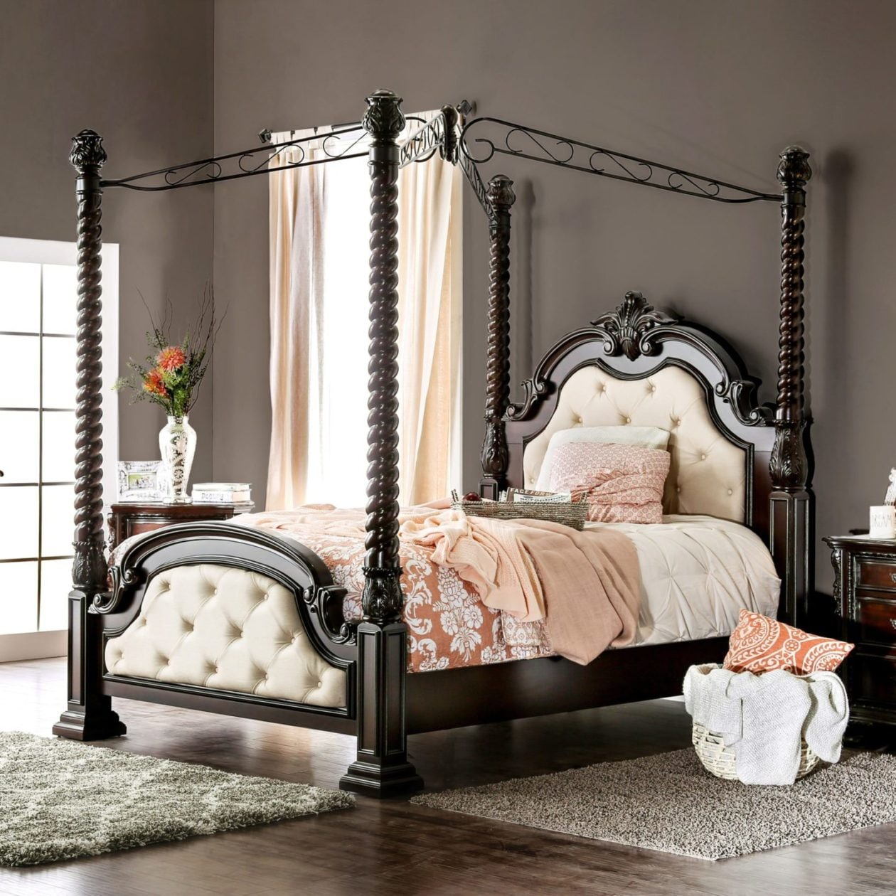 four poster bed frame with tufted fabric headboard and traditional scrollwork