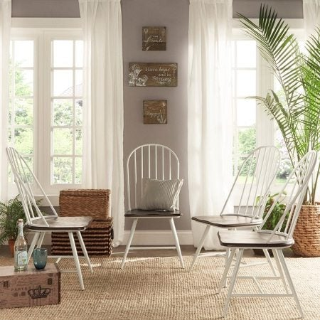 White wood chairs on a jute rug