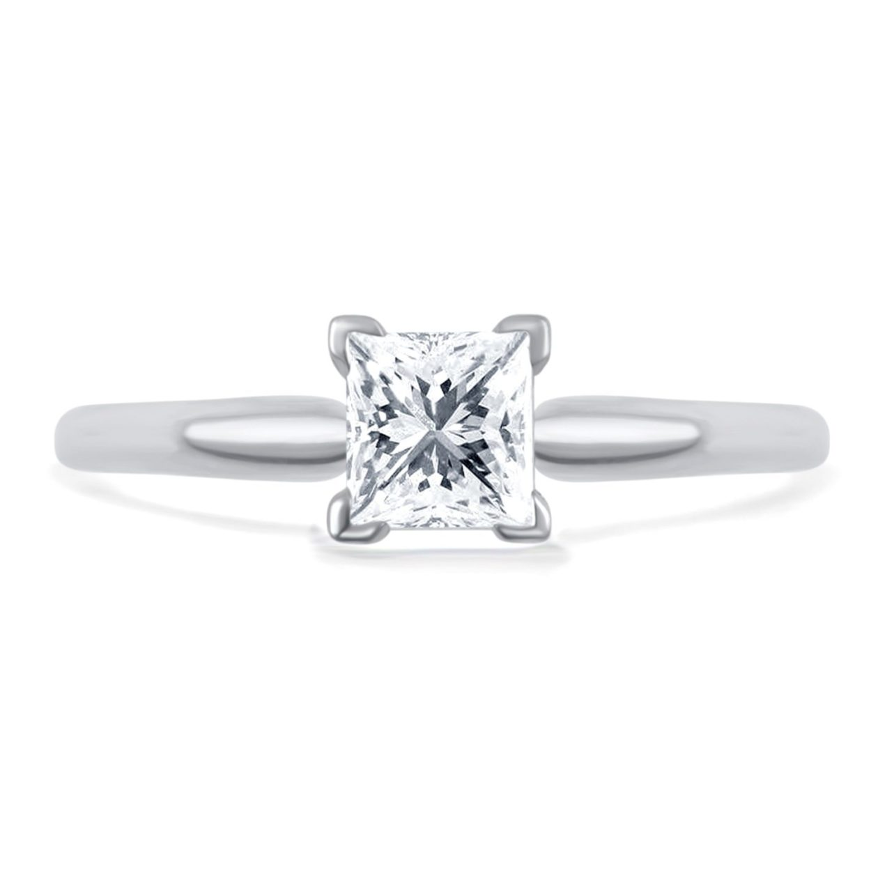 princess-cut diamond solitaire engagement ring on white background
