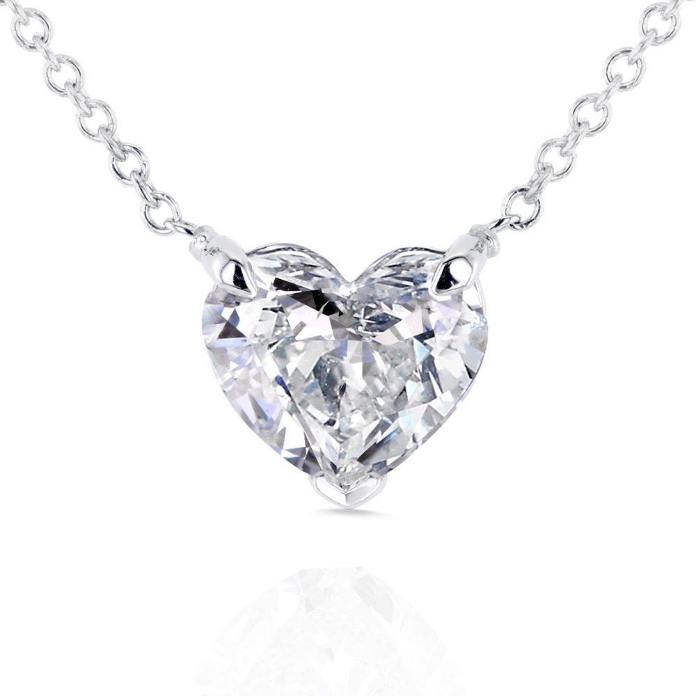heart-cut diamond pendant necklace on white backround