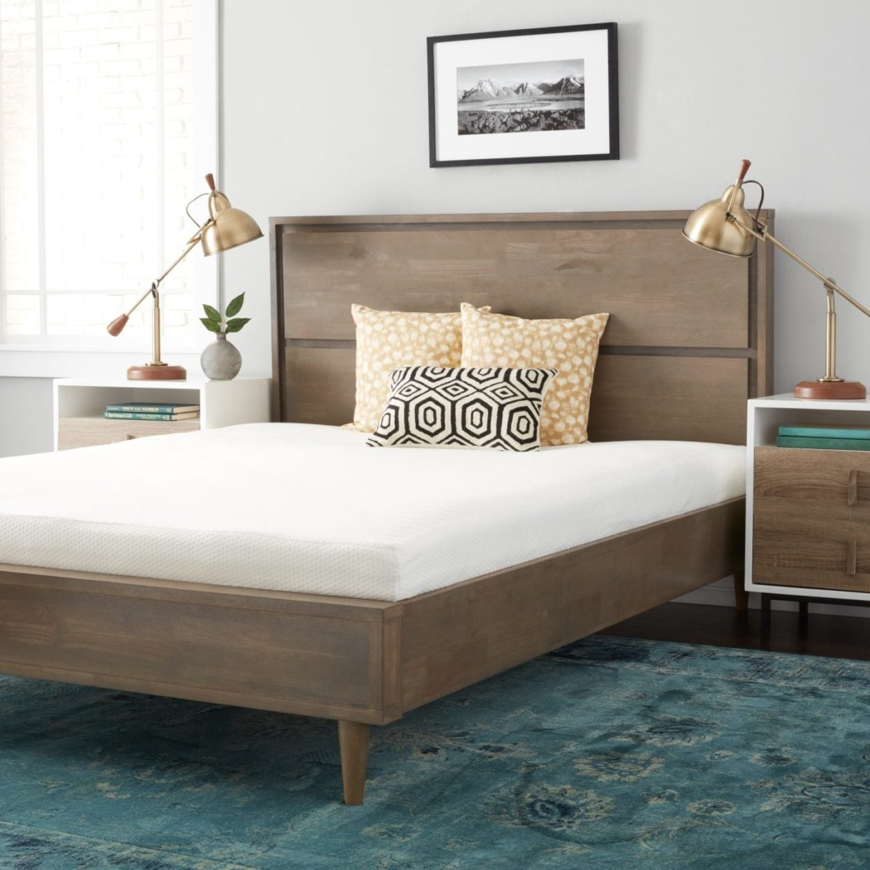 wooden bed frame with memory foam mattress