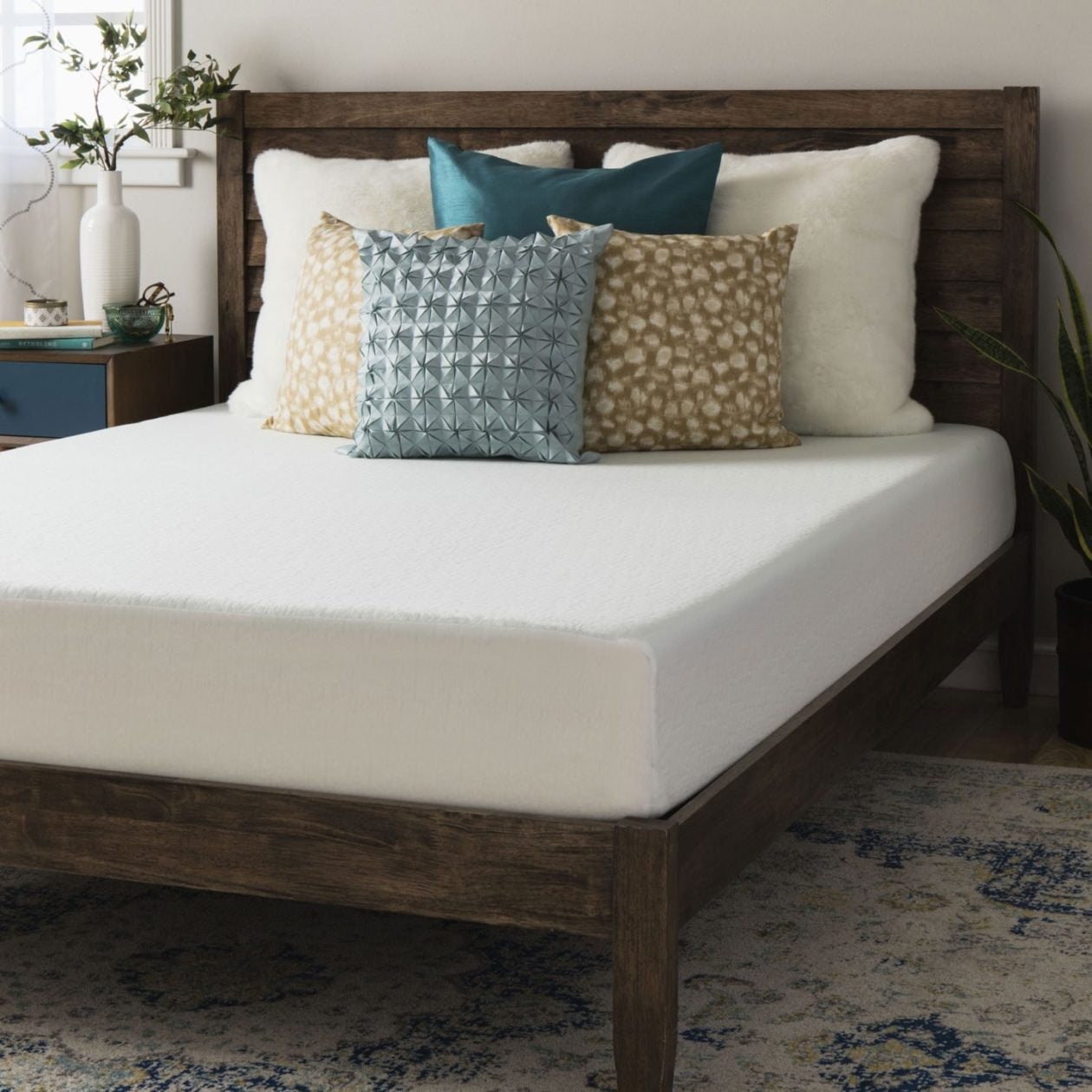wooden platform bed with memory foam mattress