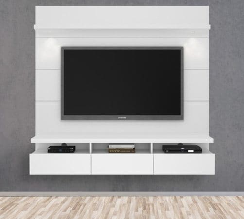 Wall-monted tv stand with a flatscreen tv