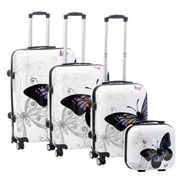 White spinner luggage set