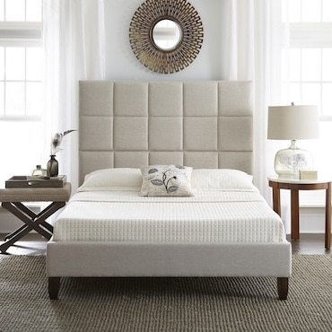 Tufted geometric bedframe