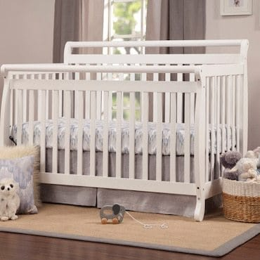 White crib showing the correct mattress size.