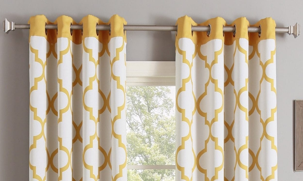Yellow and white curtains