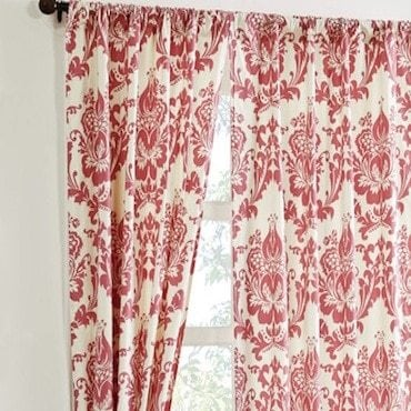 Red and white curtains