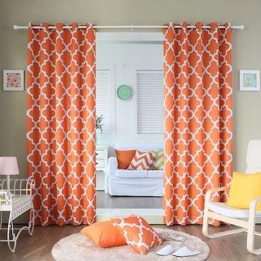 orange and white curtains