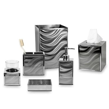 Silver bathroom accessories