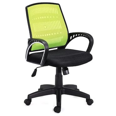 Black and green office chairs