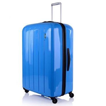 Blue hard side luggage