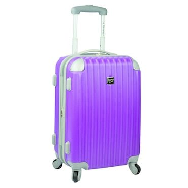 Hard sided purple luggage on wheels