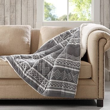 Polyester blanket laying on a couch