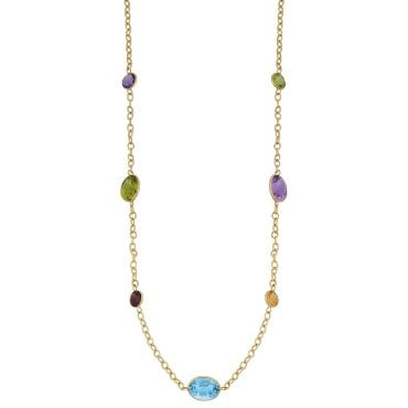Gold gemstone necklace