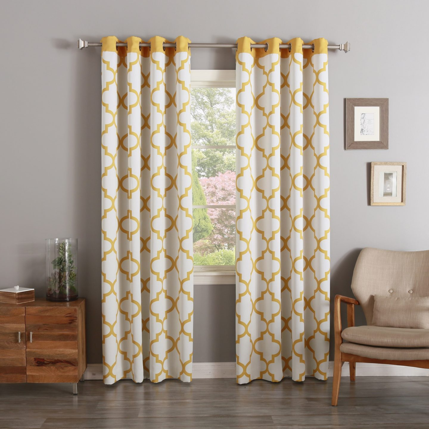 yellow and cream trellis-print thermal curtains