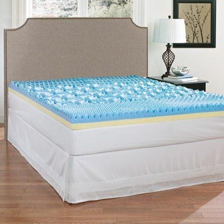 Gray bed with blue gel memory foam mattress topper