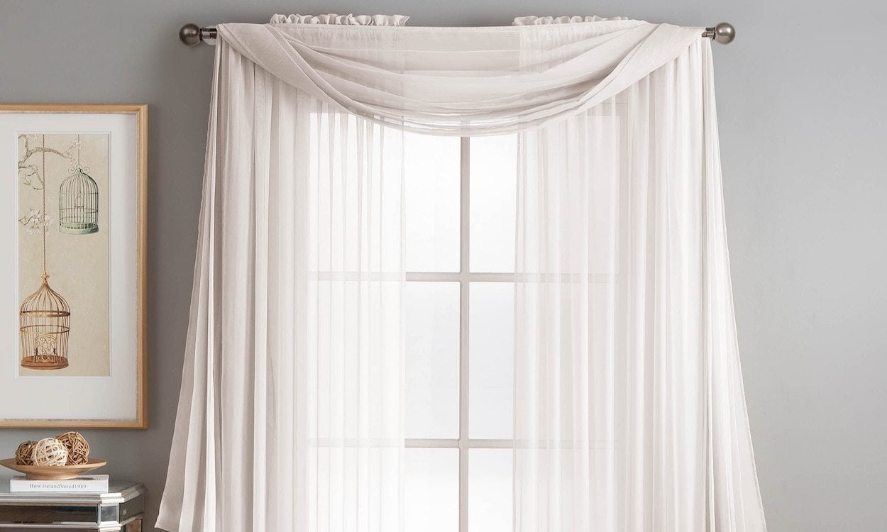 How To Drape A Scarf Valance Sheer White Curtain
