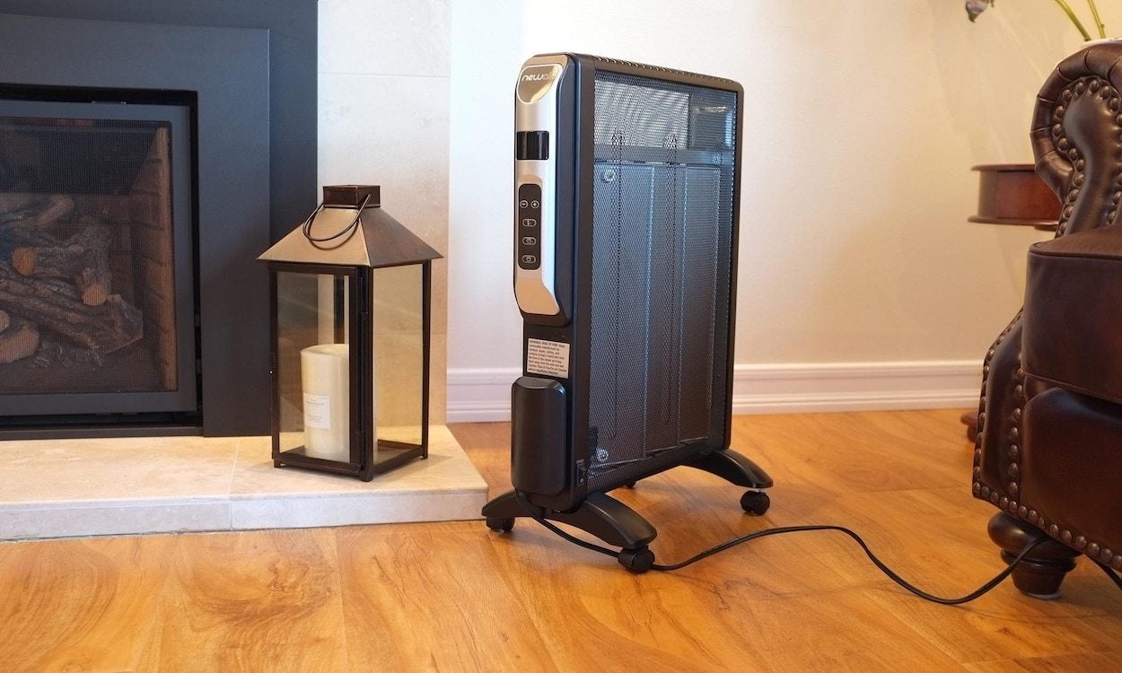 Space heater in a living room