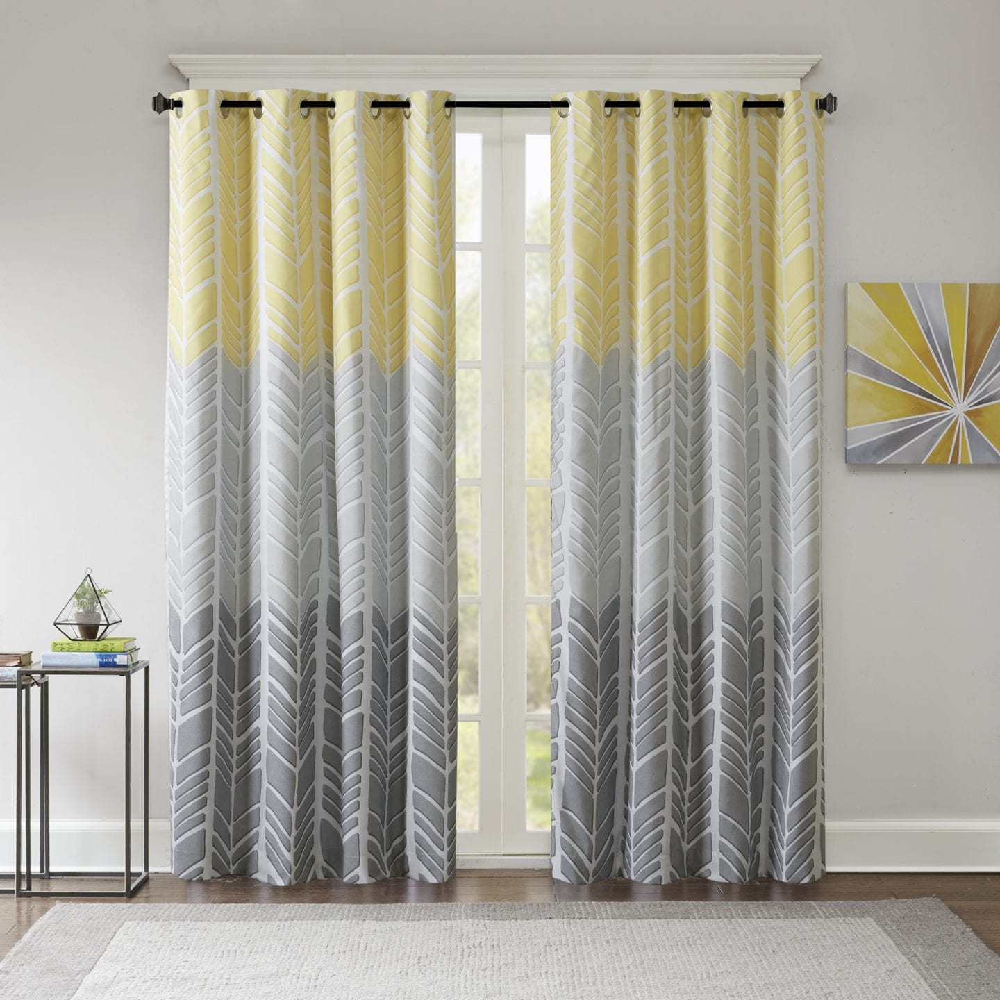 yellow and grey herringbone thermal curtains