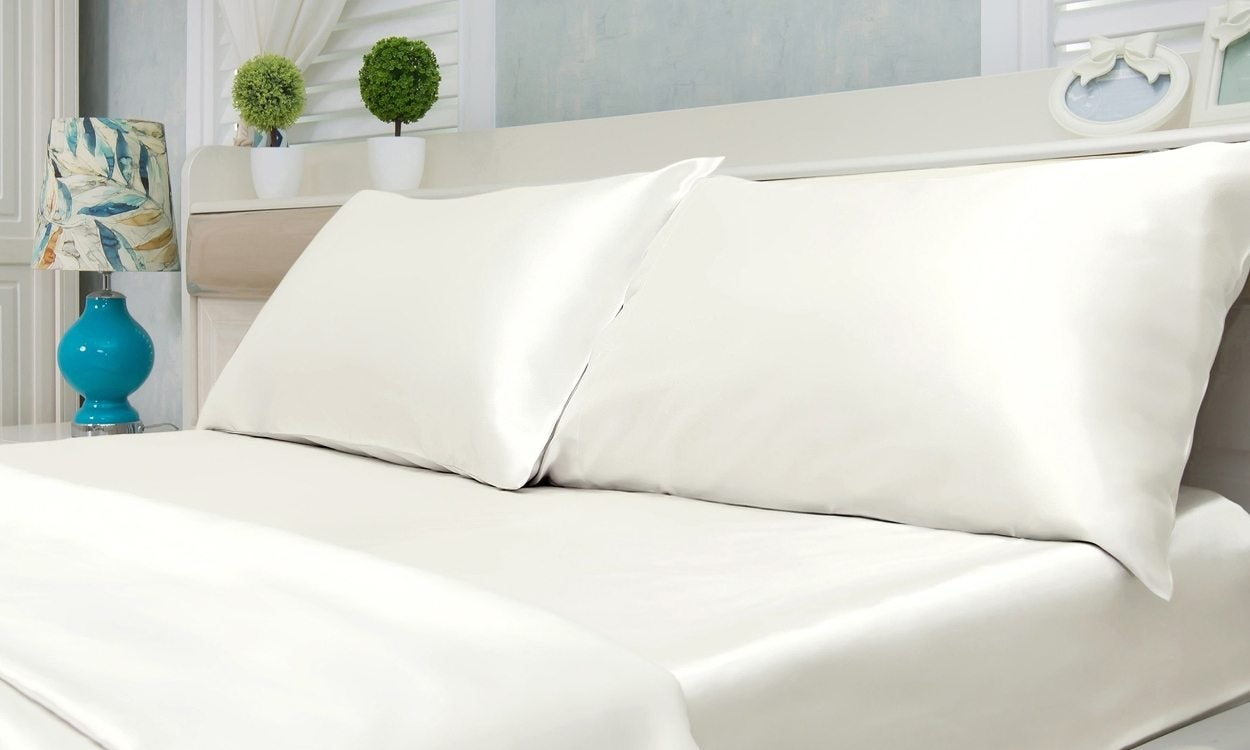 White satin pillow