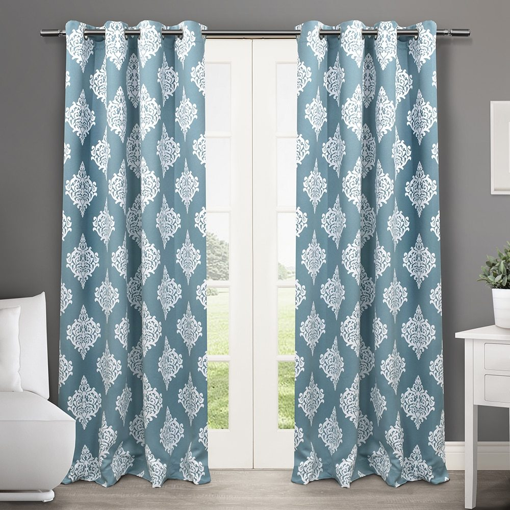 Blue And White Damask Thermal Curtains