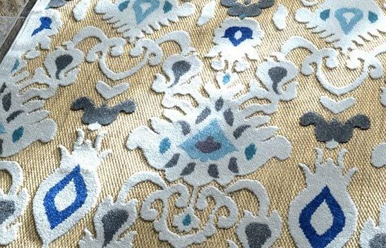 An outdoor boho area rug