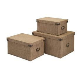 A set of Shabby Chic burlap boxes