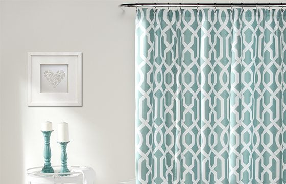 blue shower curtain with white trellis pattern new home essentials