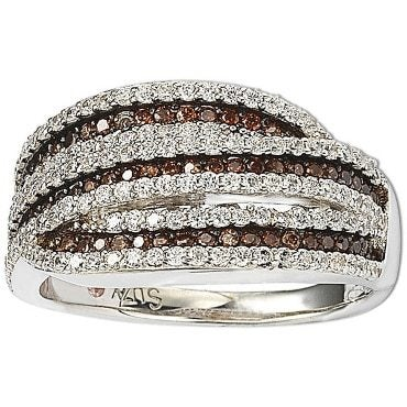 Brown and white cubic zirconia ring