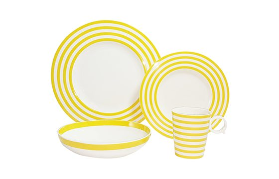 yellow and white striped dinnerware set new home essentials