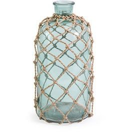 A sea glass bottle, Coastal Decor