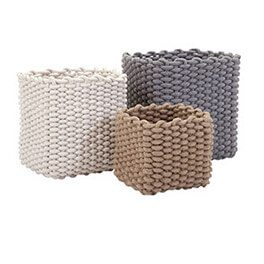 A set of 3 rope baskets, Coastal Decor