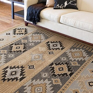brown and black rustic area rug