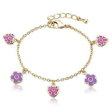Pink and purple charm bracelet
