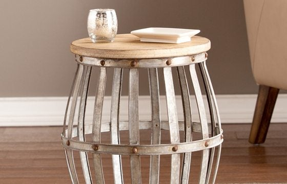 metal and wood side table new home essentials
