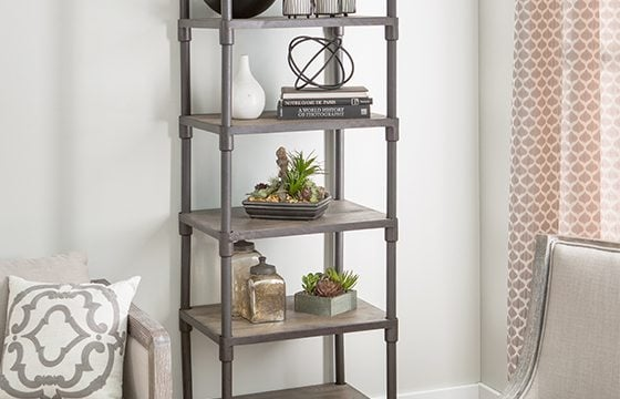 wood and metal industrial shelves new home essentials