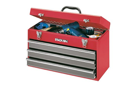 red metal tool box new home essentials